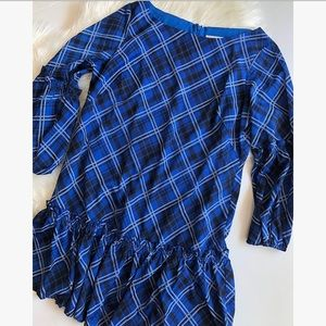 Eliza J blue plaid printed dress